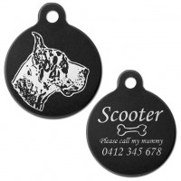 Great Dane Black Engraved 31mm Large Round Pet Dog ID Tag