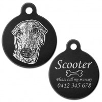 Greyhound Black Engraved 31mm Large Round Pet Dog ID Tag
