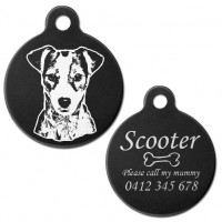 Jack Russell Terrier Black Engraved 31mm Large Round Pet Dog ID Tag