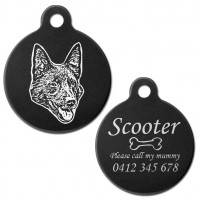 Kelpie Black Engraved 31mm Large Round Pet Dog ID Tag