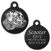 Black Labrador Black Engraved 31mm Large Round Pet Dog ID Tag