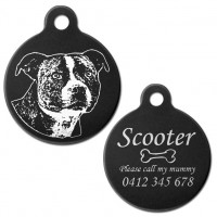 Classic Staffordshire Terrier Black Engraved 31mm Large Round Pet Dog ID Tag