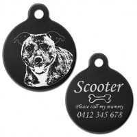 Cheeky Staffordshire Terrier Black Engraved 31mm Large Round Pet Dog ID Tag