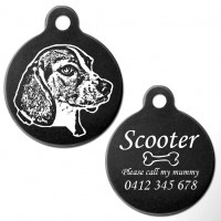 Beagle Black Engraved 31mm Large Round Pet Dog ID Tag