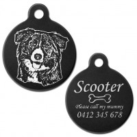 Border Collie Black Engraved 31mm Large Round Pet Dog ID Tag