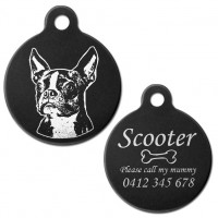 Boston Terrier Black Engraved 31mm Large Round Pet Dog ID Tag