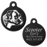Boxer Natural Ear Black Engraved 31mm Large Round Pet Dog ID Tag
