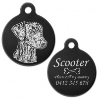 Doberman Natural Ear Black Engraved 31mm Large Round Pet Dog ID Tag