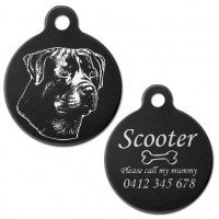 Rottweiler Rotty Black Engraved 31mm Large Round Pet Dog ID Tag