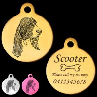 Springer Spaniel Engraved 31mm Large Round Pet Dog ID Tag