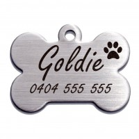 Bone Premium Brushed Style Stainless Steel Engraved 37mm Pet Dog ID Tag
