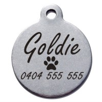 Round Circle Stainless Steel Engraved Pet Dog Cat ID Tag Large 31mm