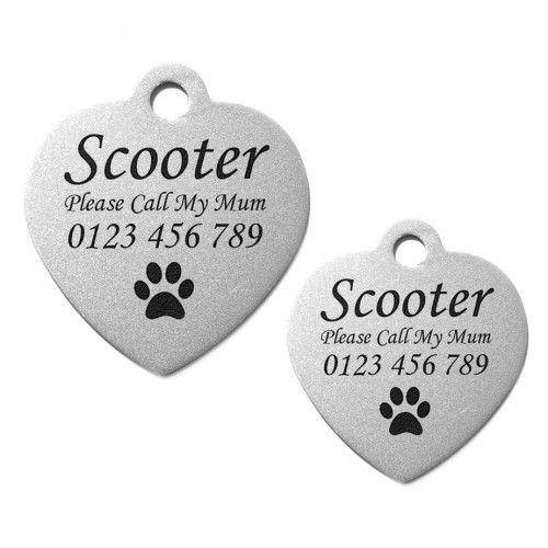 Heart Stainless Steel Engraved Pet Dog Cat ID Tag Large 31mm