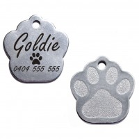 Paw Stainless Steel Engraved Pet Dog Cat ID Tag MEDIUM 27mm